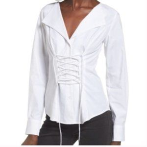 📦 WAYF Molly Corset Lace Up White Blouse